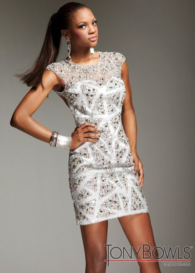 Tony Bowls Shorts TS11387 Beaded Cocktail Dress with Cap Sleeves ...