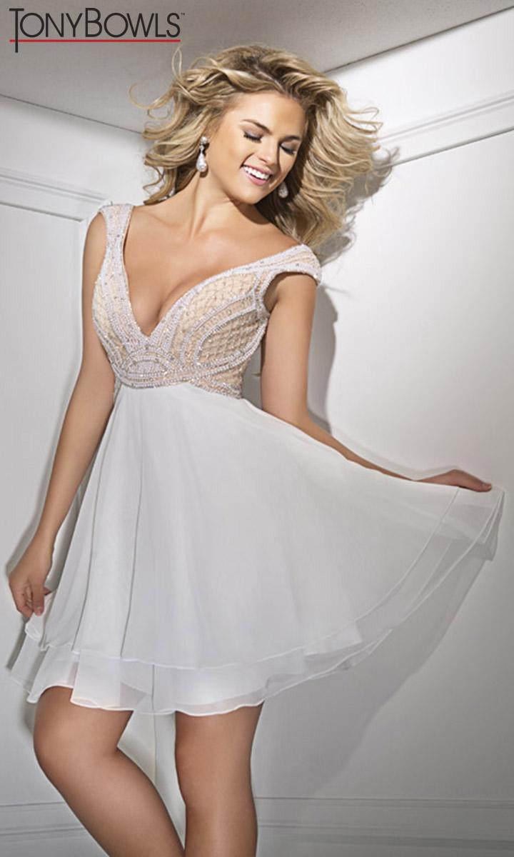 Tony Bowls TS11627 Deep V Neck Short Prom Dress: French Novelty