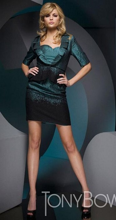 Brocade 2pc Cocktail Dress with Jacket Tony Bowls Suits TS21052 ...