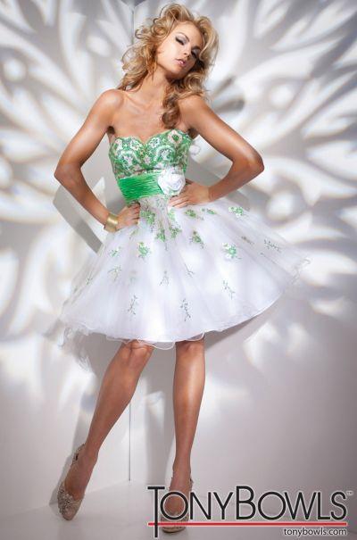 Tony Bowls Shorts Green Lace Short Party Dress TS21104: French Novelty