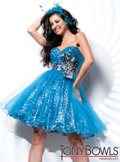 Blue Leopard Print Party Dress Tony Bowls Shorts TS21120: French ...