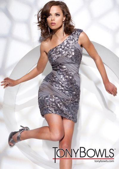 Tony Bowls Shorts Silver Sequin One Shoulder Cocktail Dress ...
