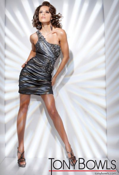 Tony Bowls Shorts One Shoulder Ruched Cocktail Dress TS21135 ...