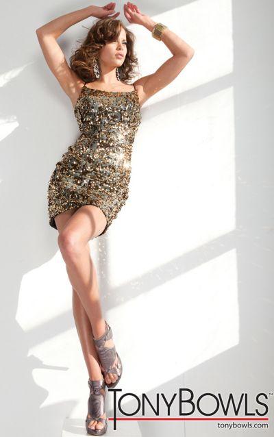 Tony Bowls Shorts Black and Gold Sequin Cocktail Dress TS21150 ...