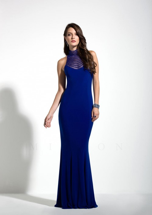 Mignon VM1330 Sheer High Neck Formal Dress: French Novelty