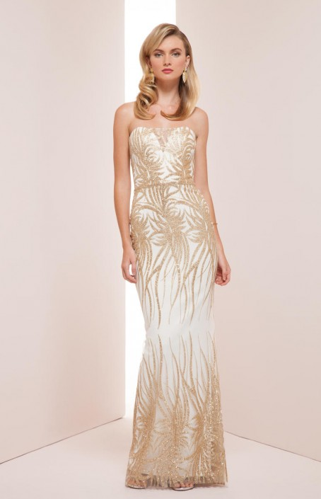 Mignon VM35311 White Gold Beaded Gown: French Novelty
