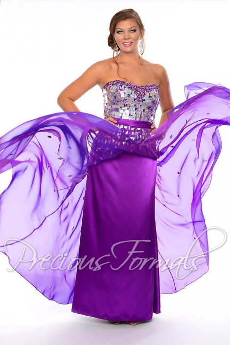 Precious Formals W21046 Iridescent Plus Size Prom Gown French Novelty