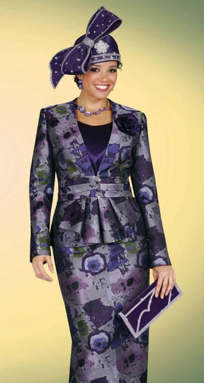Benmarc Purple Print Womens Church Suit 4419 French Novelty