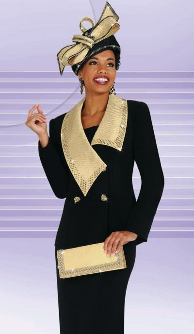 Black and Gold Ladies Dress Suit BenMarc International Suit 4448 ...