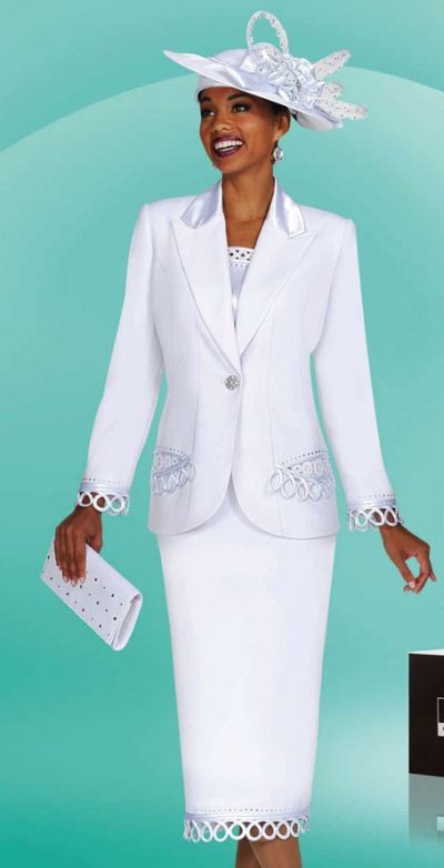 White Church Suits For Women Benmarc Suit 4451 And Hat And