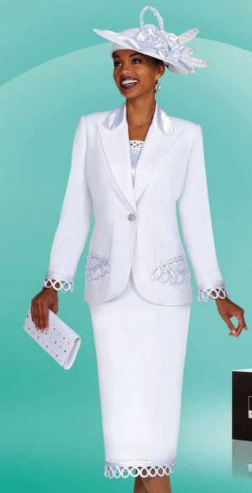 White Church Suits for Women BenMarc Suit 4451 and Hat and Purse ...