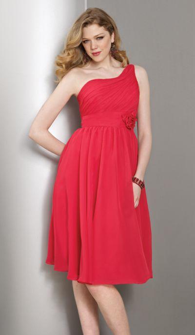 One shoulder tea length mori lee affairs bridesmaid dress for One shoulder tea length wedding dress