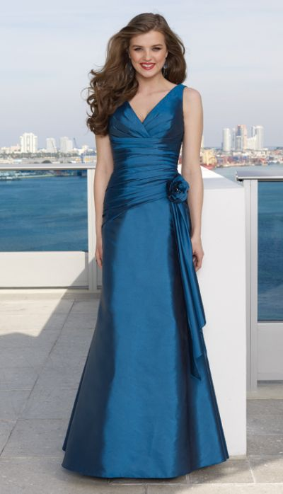 Strapless v neck long taffeta mori lee bridesmaid dress for Mori lee taffeta wedding dress