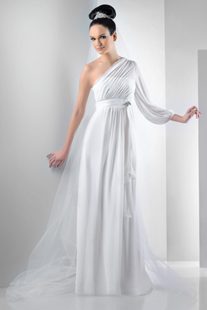 One Shoulder Bari Jay Destination Wedding Dress 2011