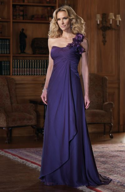 One Shoulder Flowers Chiffon Montage by Mon Cheri Evening Dress ...