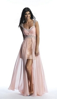 Size 4 Blush Dave and Johnny 10016 Cap Sleeve High Low Dress image