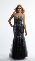 Size 4 Black Dave and Johnny 10030 Spaghetti Strap Formal Dress image