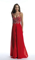Size 16 Red Dave and Johnny 10135 Beaded Waist Formal Dress image