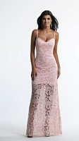 Size 0 Pink Dave and Johnny 10174 Sheer Lace Formal Dress image