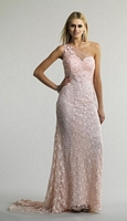 Size 6 Pink Dave and Johnny 10463 One Shoulder Lace Illusion Gown image