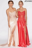 Jovani 10473 Silk Formal Dress with Lace image