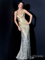 Jovani Ombre Sequin Deep V Fitted Gown 11002 image