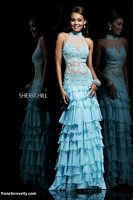 Sherri Hill 11052 Lace Illusion Tiered Ruffle Long Dress image