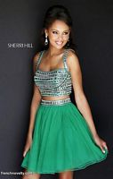 Size 0 Orange Sherri Hill 11060 Two Piece Short Party Dress image