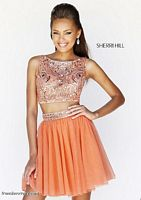 Size 4 Light Blue Sherri Hill 11061 2-Pc Sleeveless Short Party Dress image