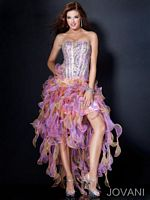 Jovani Evening Dress with Uneven Layered Ruffles 110621 image