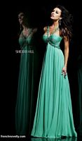 Size 6 Turquoise Sherri Hill 11072 Ruched Gown with Beaded Straps image