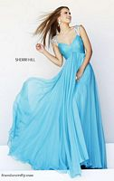 Sherri Hill 11076 Cap Sleeve Sheer Formal Dress image