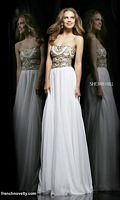 Size 4 Ivory-Gold Sherri Hill 11088 Cut Out Midriff Evening Dress image