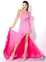 Jovani One Sleeve Jeweled Formal Gown 111046 image