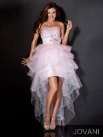 Jovani High Low Ball Gown 111052 with Beading and Lace image
