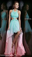 Sherri Hill 11140 High Low Ombre Halter Dress image
