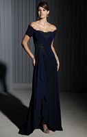 Cameron Blake Off the Shoulder Jersey Evening Dress 111688 image