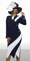Size 18 White-Navy Donna Vinci 11272 Womens Church Dress image