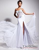 Tony Bowls Le Gala White Chiffon Formal Dress 113538 image