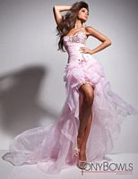 Size 0 Pink Tony Bowls Le Gala 113549 High Low Organza Evening Dress image