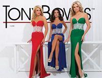 Size 12 Emerald Tony Bowls 114709 Paris Beaded Midriff Formal Dress image