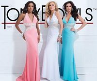 Size 10 White Tony Bowls 114747 Paris Deep V Halter Gown image