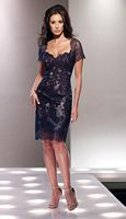 Size 12 Navy Social Occasions by Mon Cheri 114814 MOB Sheer Dress image