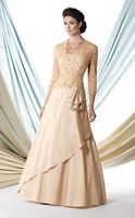 Size 14 Champagne Montage 114901 MOB Dress with Sheer Jacket image
