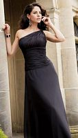 Jordan Couture Ruched One Shoulder Long Bridesmaid Dress 1220 image