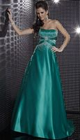 Studio 17 Strapless Satin Evening Dress with Beading 12267 image