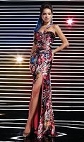 Studio 17 Orange Multi Print One Shoulder Prom Dress 12275 image
