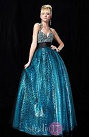 Studio 17 Leopard Flocked Sequin and Tulle Evening Dress 12327 image