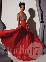 Size 2 Caribbean Blue Studio 17 Beaded Chiffon Gown 12461 image