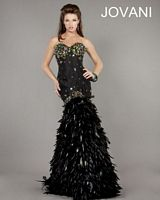 Jovani 1252 Feather and Crystal Mermaid Gown image